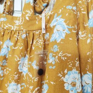 Free People Tops - Free People Mustard Linen Floral Blouse Crop Top